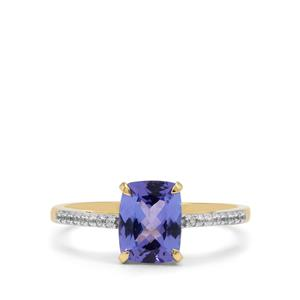 AA Tanzanite Ring with White Zircon in 9K Gold 1.65cts