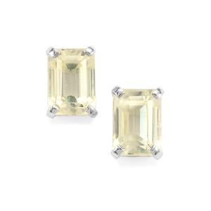 Canary Kunzite Earrings in Sterling Silver 2.77cts