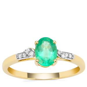 Ethiopian Emerald Ring with Diamond in 9K Gold 0.67ct