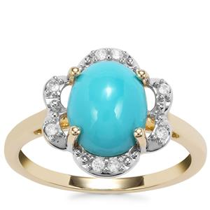 Sleeping Beauty Turquoise Ring with White Zircon in 10k Gold 2.45cts