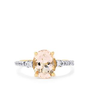 Mutala Morganite Ring with White Zircon in 10k Gold 2.45cts