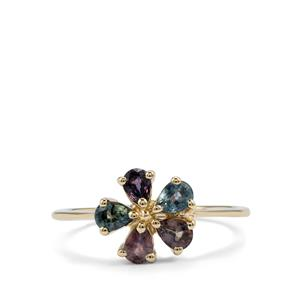 Tunduru Colour Change Sapphire Ring in 9K Gold 0.98ct
