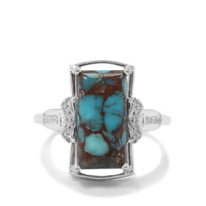 Egyptian Turquoise & White Zircon Sterling Silver Ring ATGW 3.94cts