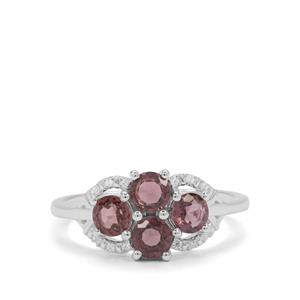 Burmese Purple Spinel & White Zircon Sterling Silver Ring ATGW 1.56cts