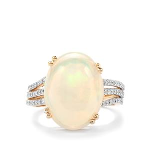 Ethiopian Opal & Diamond 18K Gold Lorique Ring MTGW 7.71cts