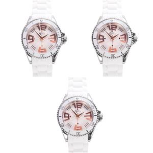 Stainless Steel Annabella Watch with Rose Tone Details and White Silicone Strap