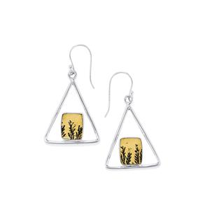 Manganese Dendrite Earrings in Sterling Silver 8cts