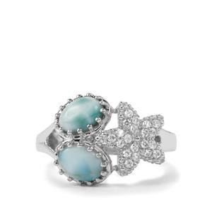 Larimar & White Zircon Sterling Silver Ring ATGW 2.13cts