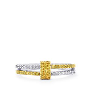 Natural Yellow Diamond Ring with White Diamond in Sterling Silver 0.35ct