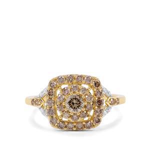 1ct Cape Champagne & White Diamond 9K Gold Ring