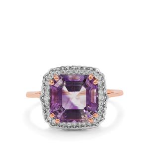 Asscher Cut Moroccan Amethyst Ring with White Zircon in 9K Rose Gold 4.35cts