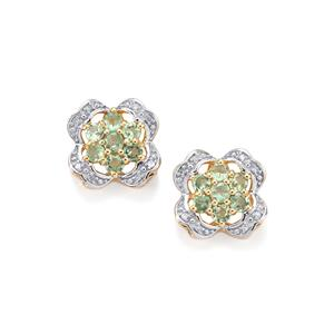 Alexandrite Earrings with Diamond in 9K Gold 0.81ct