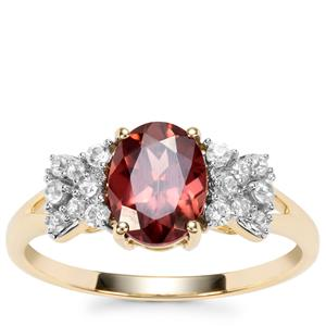 Zanzibar Zircon Ring with White Zircon in 9K Gold 2.23cts