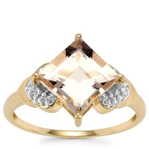 Alto Ligonha Morganite Ring with Diamond in 10K Gold 2.37cts