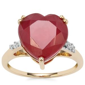 Malagasy Ruby Ring with Diamond in 10K Gold 10.37cts (F)