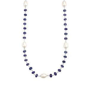Tanzanite Necklace with Kaori Cultured Pearl in Sterling Silver