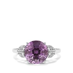 Ametista Amethyst & White Topaz Sterling Silver Cupid Ring ATGW 4.14cts