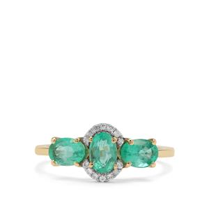Siberian Emerald Ring with White Zircon in 9K Gold 1.54cts