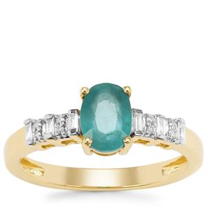 Grandidierite Ring with Diamond in 18K Gold 0.91ct