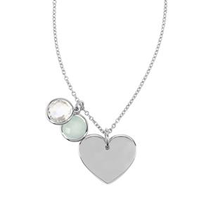 Aqua Chalcedony Pendant Necklace with Optic Quartz in Sterling Silver 3.41cts