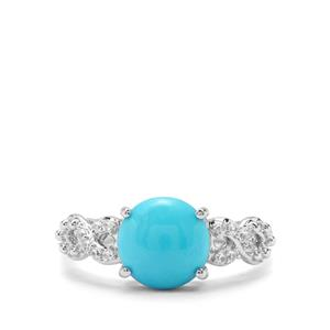 Sleeping Beauty Turquoise & White Zircon Sterling Silver Ring ATGW 2.46cts
