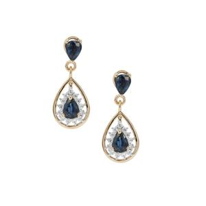 Natural Nigerian Blue Sapphire & White Zircon 9K Gold Earrings ATGW 1.47cts