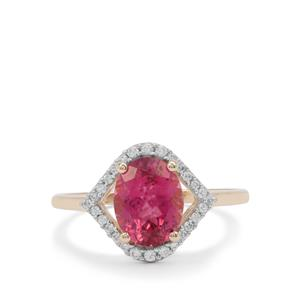 Nigerian Rubellite Ring with White Zircon in 9K Gold 2.10cts