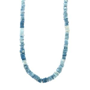 131ct Blue Opal Sterling Silver Graduated Bead Necklace