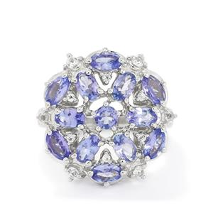 AA Tanzanite & White Topaz Sterling Silver Ring ATGW 4.73cts