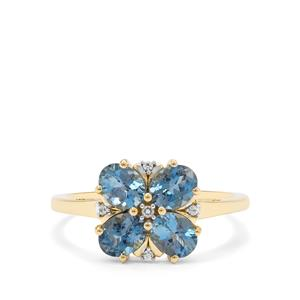 Nigerian Aquamarine Ring with White Zircon in 9K Gold 1.25cts