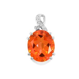 Padparadscha Quartz Pendant with White Topaz in Sterling Silver 5.61cts