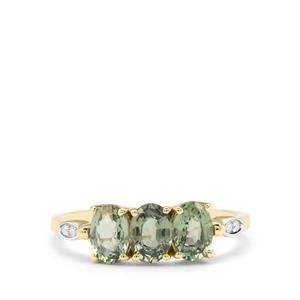 Green Sapphire & Diamond 9K Gold Ring ATGW 1.97cts