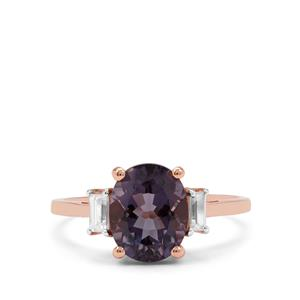 Blueberry Quartz Ring with White Zircon in 9K Rose Gold 2.75cts