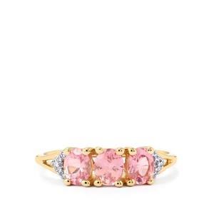 Mozambique Pink Spinel & Diamond 9K Gold Ring ATGW 1.12cts