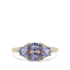 Tanzanite Ring with White Zircon in 9K Gold 1.56cts