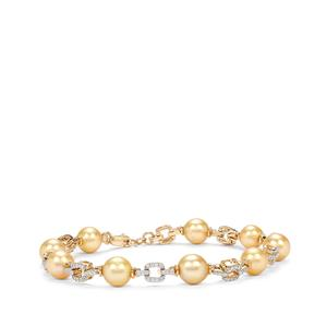 Golden South Sea Cultured Pearl Bracelet with Diamond in 18K Gold (8mm)