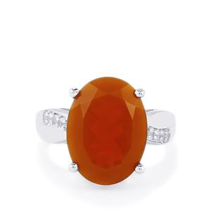 AA Orange American Fire Opal & White Topaz Sterling Silver Ring ATGW 6.70cts