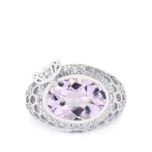 Rose De France Amethyst & White Topaz Sterling Silver Ring ATGW 5.40cts