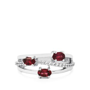 Rhodolite Garnet Ring with White Zircon in Sterling Silver 1.20cts