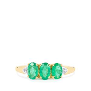Zambian Emerald & Diamond 9K Gold Ring ATGW 1.07cts