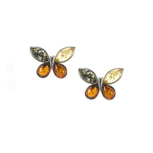 Baltic Champagne, Green Amber Earrings with Baltic Cognac Amber in Sterling Silver