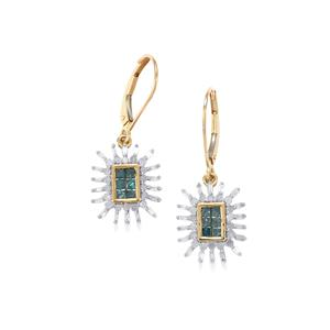 Blue Diamond Earrings with White Diamond in 10K Gold 1cts