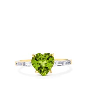 Changbai Peridot Ring with White Zircon in 10K Gold 2.13cts