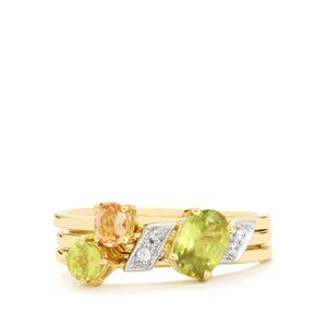 Ambilobe Sphene, Ouro Preto Imperial & White Topaz 10K Gold Set of 3 Stacker Rings ATGW 1.16cts