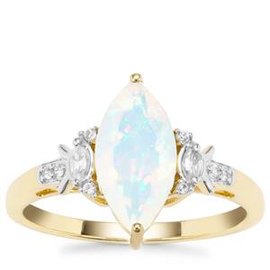 Ethiopian Opal Ring with White Zircon in 9K Gold 1.12cts