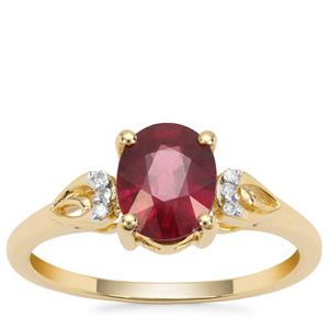Malawi Garnet Ring with White Diamond in 9K Gold 1.92cts