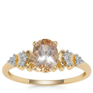 Champagne Danburite Ring with White Zircon in 9K Gold 1.23cts