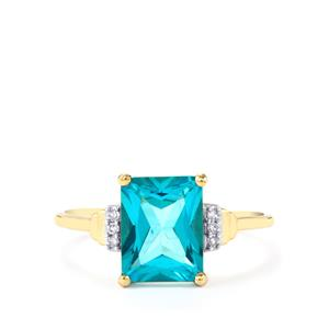 Batalha Topaz Ring with Diamond in 9K Gold 2.72cts