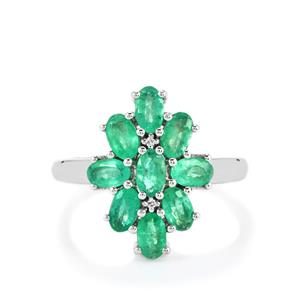 Zambian Emerald & White Zircon Platinum Plated Sterling Silver Ring ATGW 1.96cts