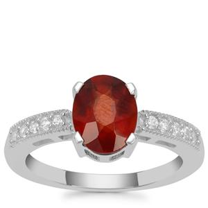 Gooseberry Grossular Garnet Ring with White Zircon in Sterling Silver 2.32cts
